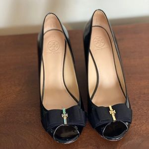 Tory Burch wedge shoe, black patent. Size 8.5